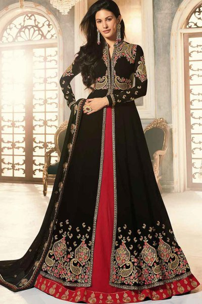 Stunning Black and Red Georgette Party Wear Anarkali Suit