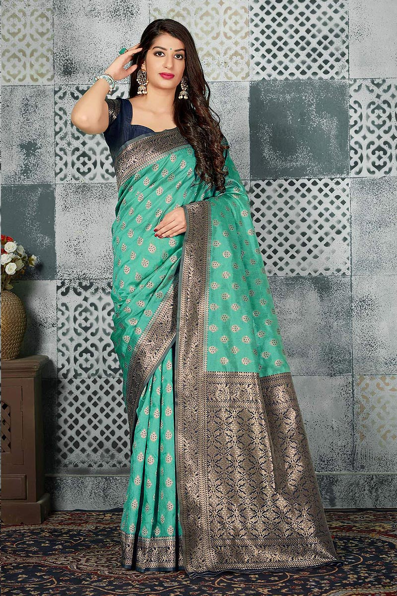 Mint Party Wear Banarasi Silk saree