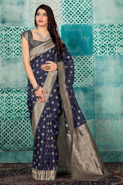 Navy Blue Part Wear Banarasi Silk