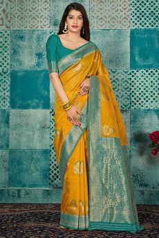 Mustard Banarasi Silk Party Wear Saree