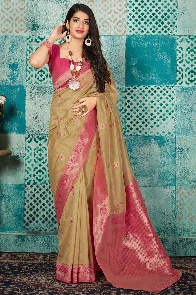 Tan and Pink Banarasi Silk Party Wear Saree