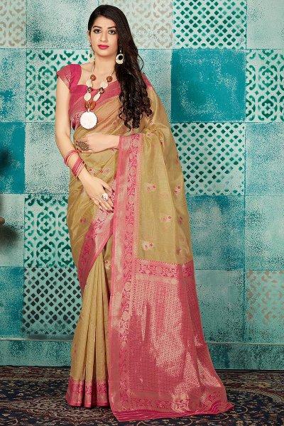 Tan and Pink Banarasi Silk Party Wear Saree