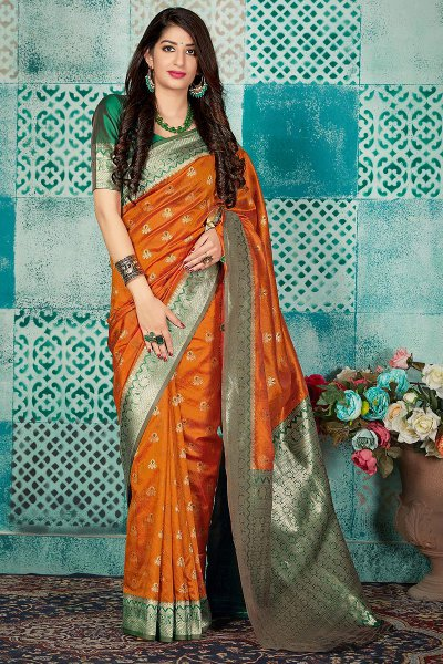 Orange Banarasi Silk Party Wear Silk saree