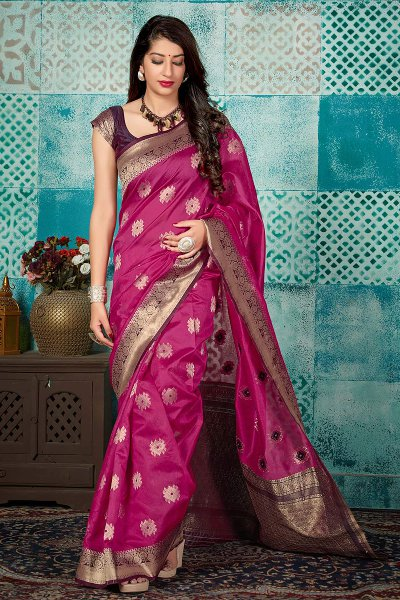 Dark Pink Banarasi Silk Party Wear Saree