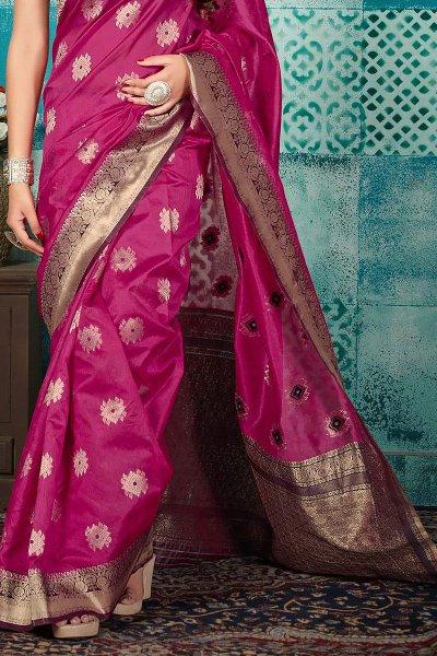 Dark Pink Banarasi Silk Party Wear Saree