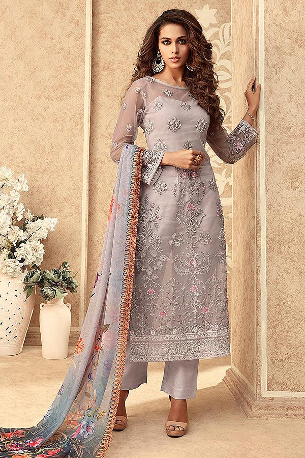 Light Mauve Net Embroidered Straight Indian Suit