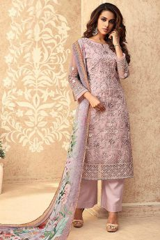 Lilac Net Embroidered Straight Palazzo Suit