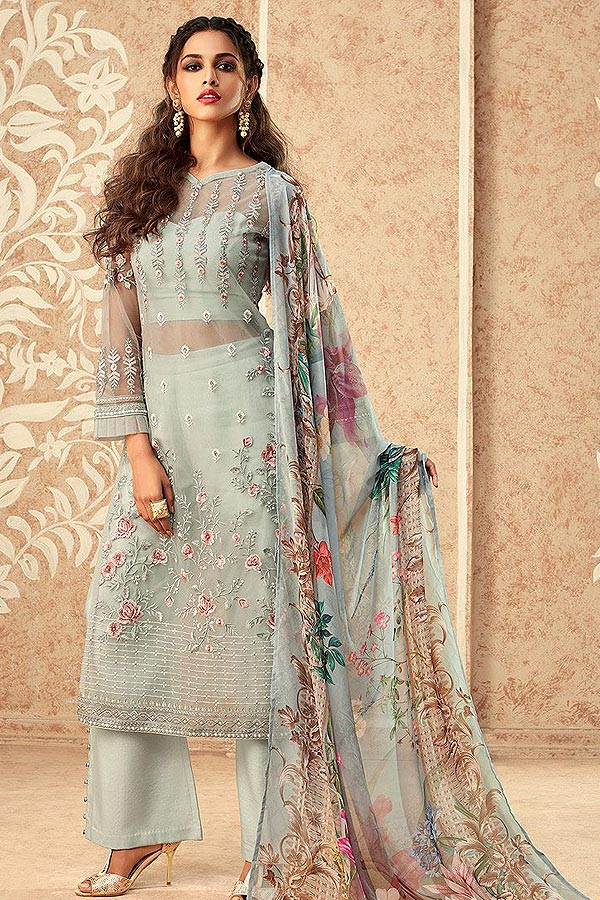 Dusty Blue Net Embroidered Straight Palazzo Suit