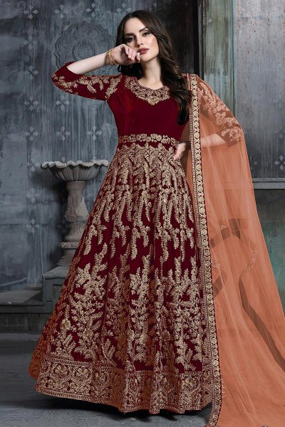 Crimson Red Zari Embroidered Anarkali Suit with Net Dupatta
