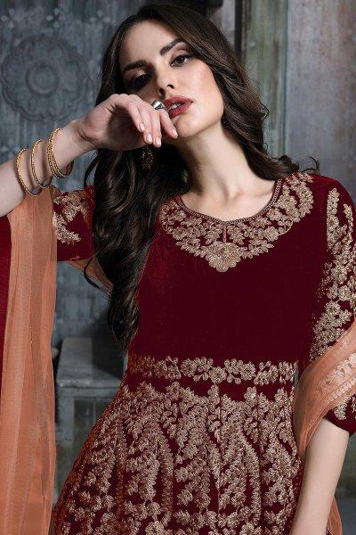 Crimson Red Zari Embroidered Anarkali Suit with Net Dupatta