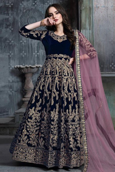 Navy Blue Zari Embroidered Anarkali Suit with Net Dupatta