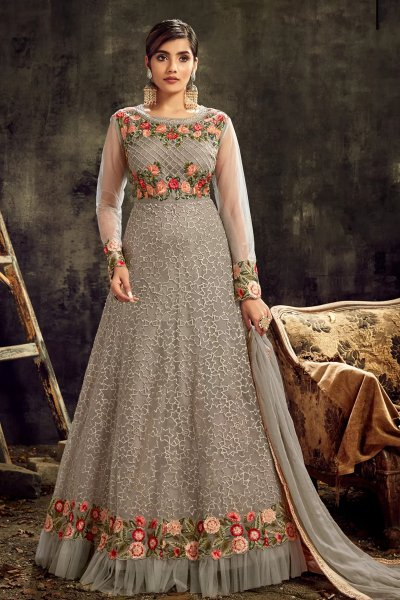 Grey Net Party Wear Anarkali Dress