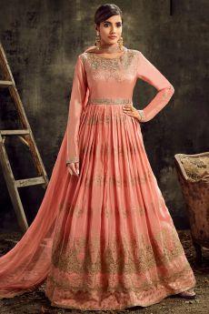 Designer Peach Silk Embroidered Anarkali Suit