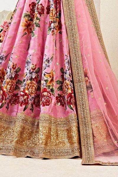 Floral Printed Satin Silk Sequin Work Lehenga