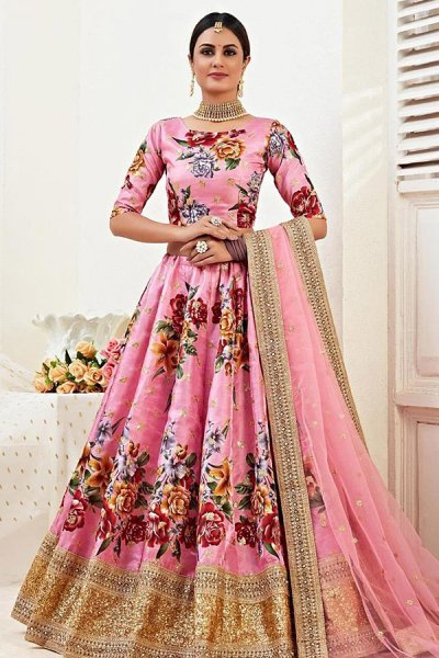 Floral Printed Satin Silk Sequin Work Lehenga