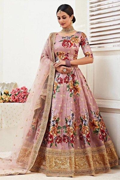 Floral Printed Dusky Pink Satin Silk Sequin Work Lehenga