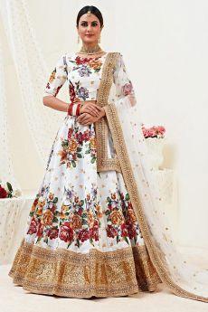 Floral Printed White Satin Silk Sequin Work Lehenga