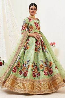 Floral Printed Pistachio Green Satin Silk Sequin Work Lehenga