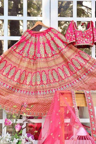 Designer Silk Zari Embroidered Lehenga with Two Beautiful Net Dupattas