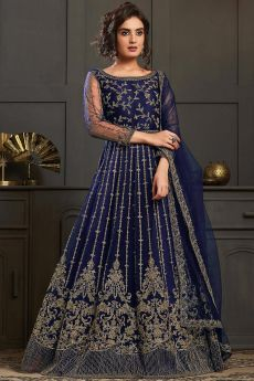 Beautiful Blue Embroidered Anarkali Suit in Net