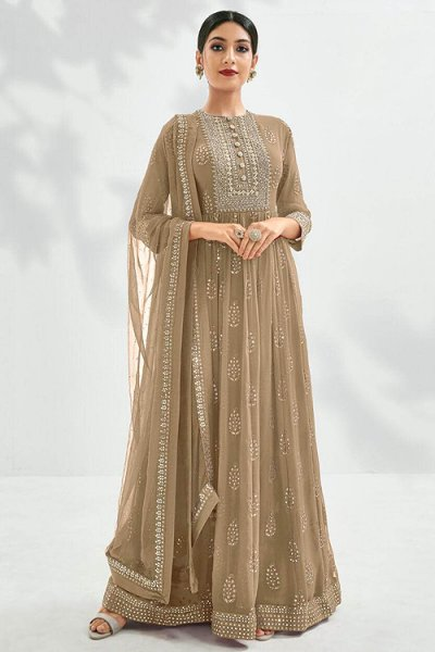 Beautiful Taupe Embroidered Anarkali Suit
