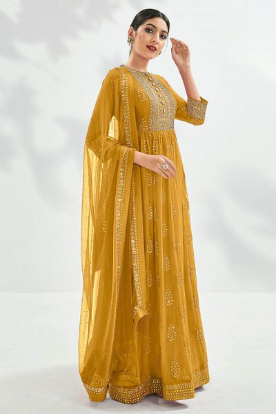 Beautiful Mustard Embroidered Anarkali Suit