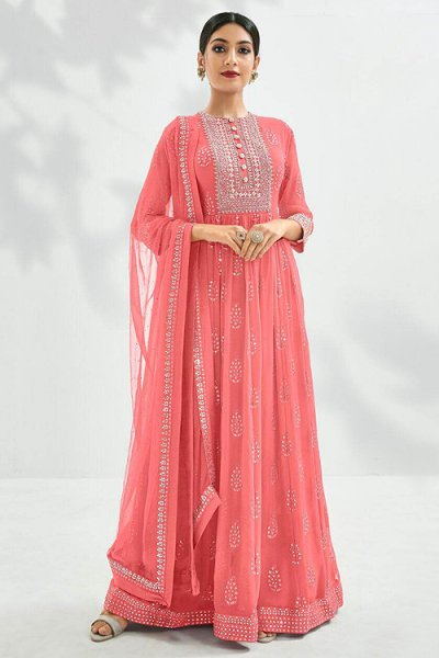 Beautiful Coral Pink Embroidered Anarkali Suit