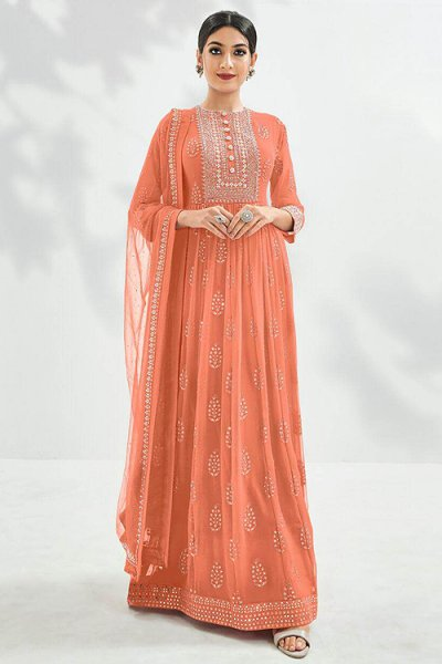 Beautiful Peach Embroidered Anarkali Suit