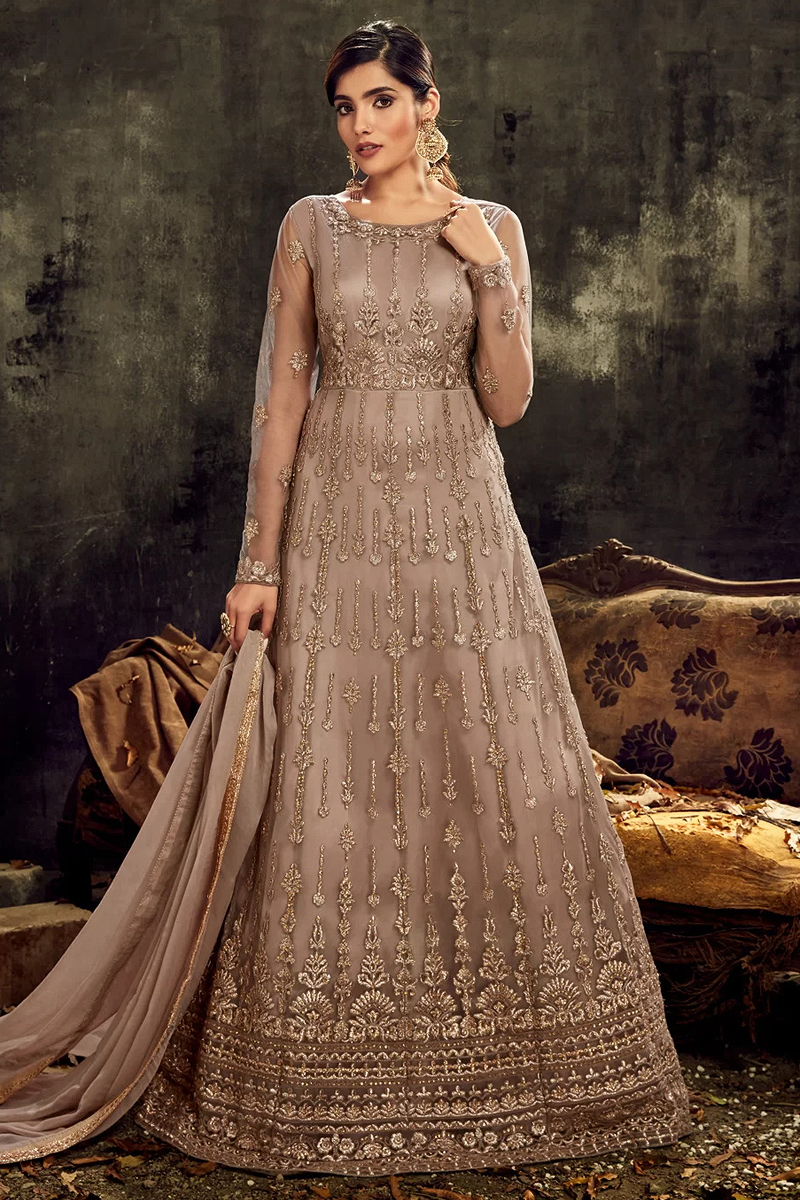 Designer Dark Beige Embroidered Net Anarkali Suit