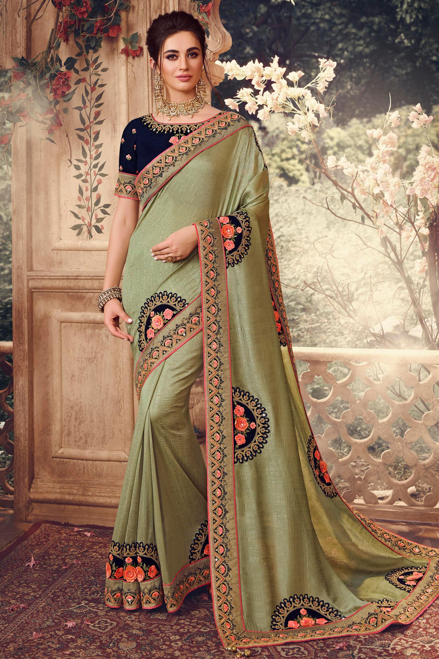 Gorgeous Olive Silk Saree with Resham Embroidery