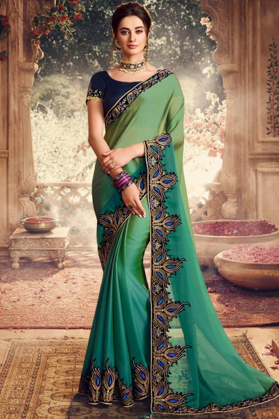 Stunning Peacock Green Silk Saree with Beautiful Zari Embroidery