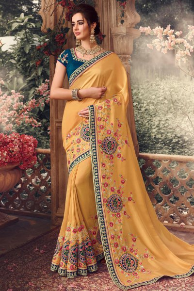 Mustard Silk Embroidered Saree