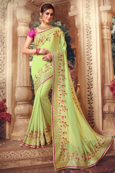 Light Green Designer Silk Saree with Stunning Floral Embroidery and Gota Work