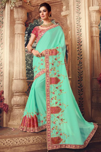 Cyan Patch Work Silk Saree with Intricate Embroidery