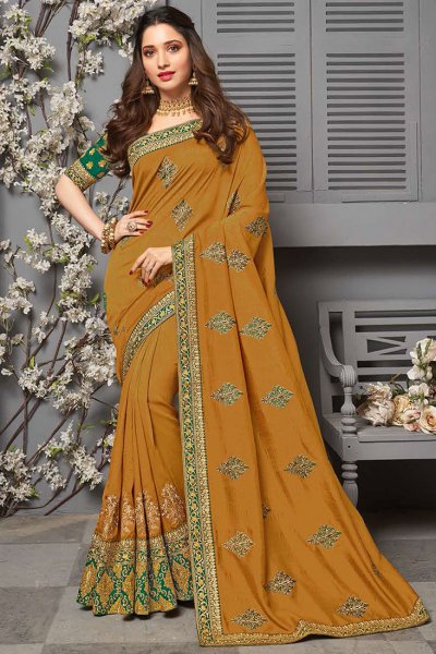 Dark Mustard Indian Party Wear Silk Saree