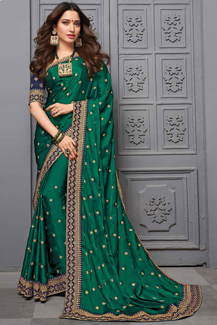 Bottle Green Silk Party Wear Saree with Beautiful Embroidered Motifs