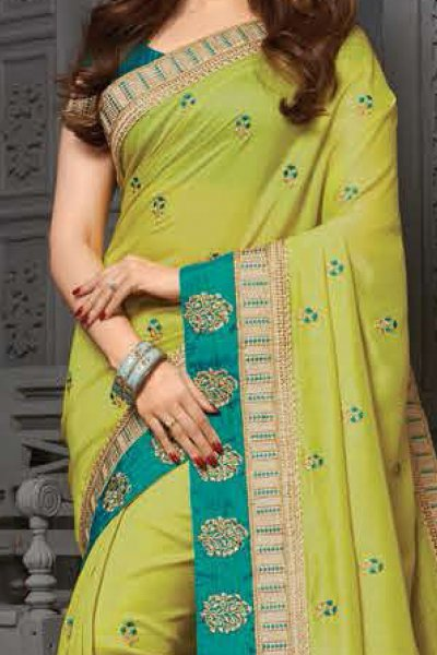 Light Green Silk Embroidered Party Wear Saree