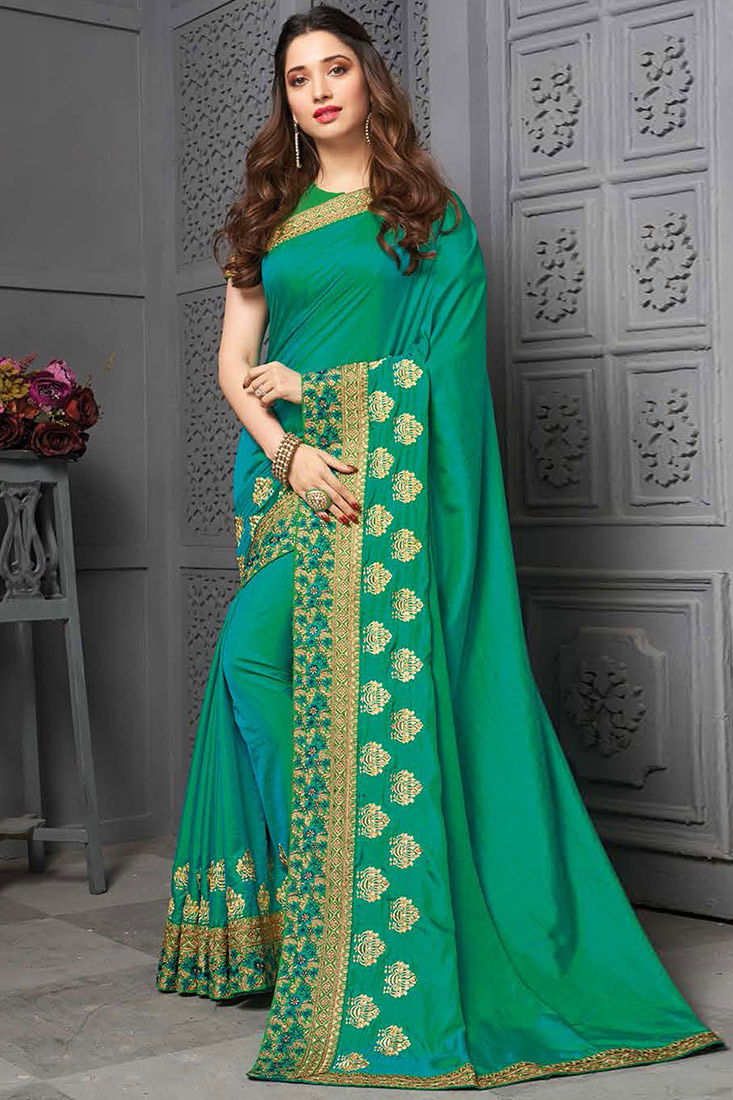 Turquoise Green Silk Embroidered Party Wear Saree