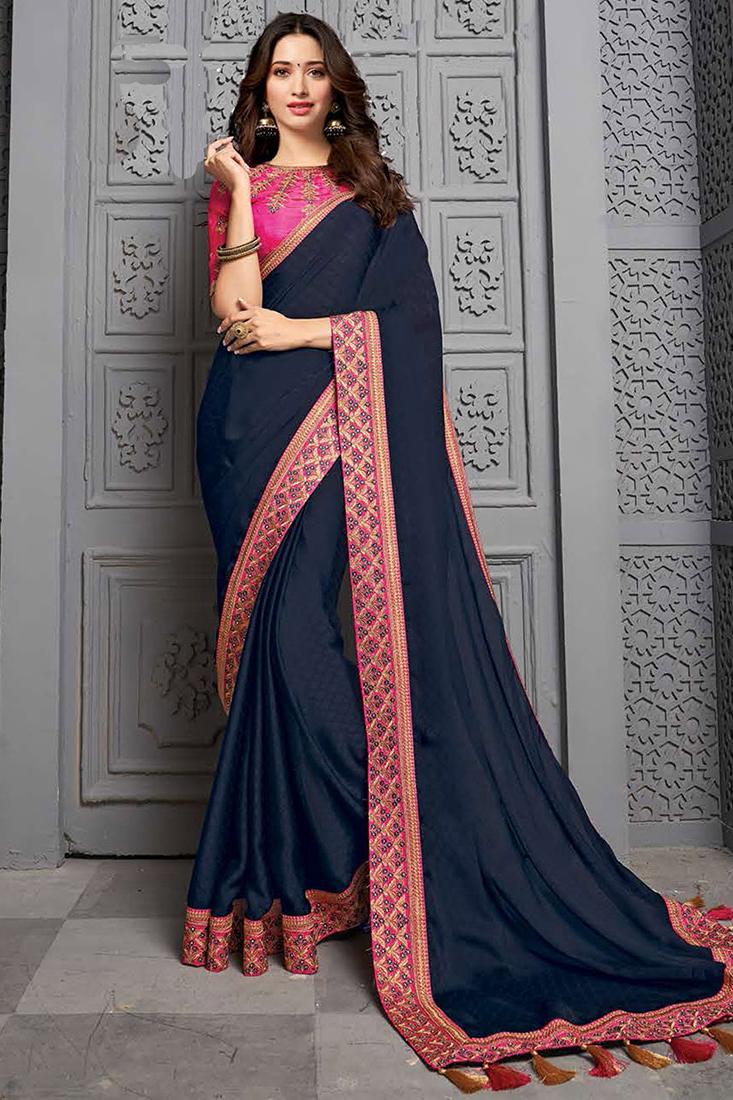 Navy Blue Party Wear Silk Saree