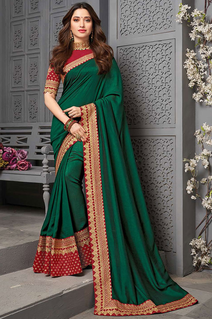 Green Party Wear Silk Saree