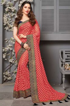 Coral Red Party Wear Silk Saree