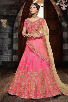 Pink Zari Embroidered Silk Lehenga Choli