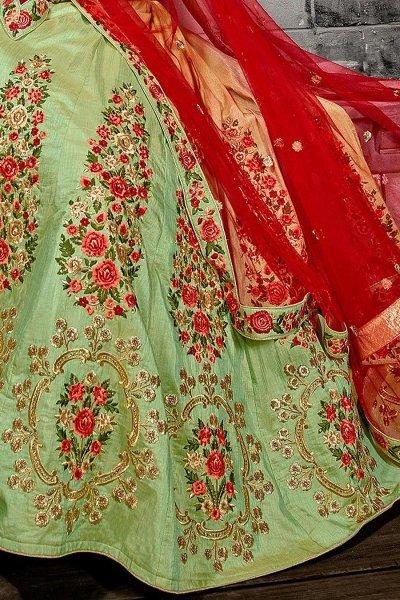 Pista Green Zari Embroidered Silk Lehenga Choli