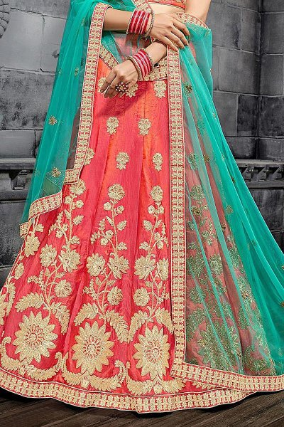Coral Red Zari Embroidered Silk Lehenga Choli