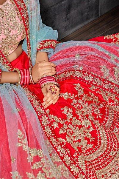 Beautiful Red Zari Embroidered Silk Lehenga Choli