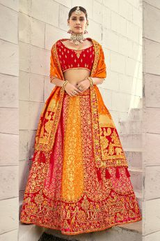 Beautiful Red and Orange Silk Lehenga Choli with Zari Detailing