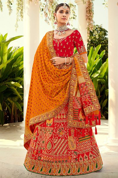 Red Zari Embroidered Lehenga Choli in Silk