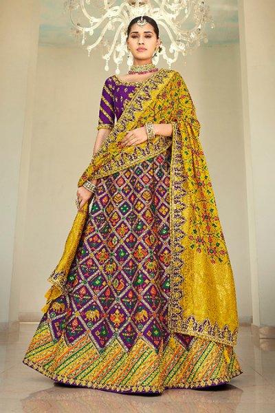 Purple Resham and Zari Embroidered Silk Lehenga