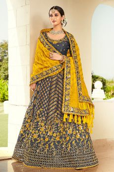 Dark Steel Blue Resham and Zari Embroidered Silk Lehenga Choli