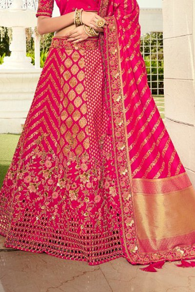 Pink Resham and Zari Embroidered Silk Lehenga Choli
